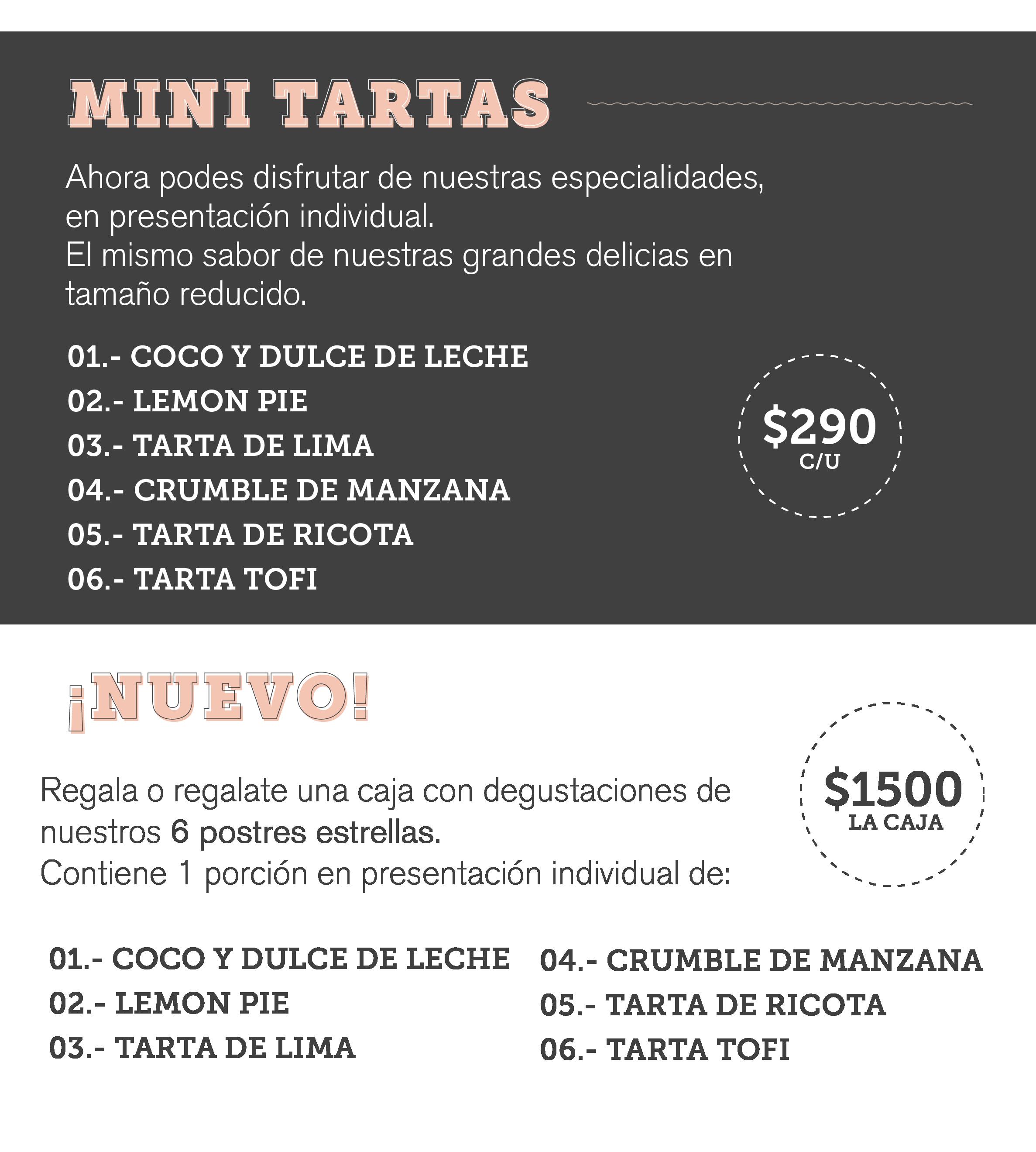 Menú Pastelería 1 | Tartas y postres