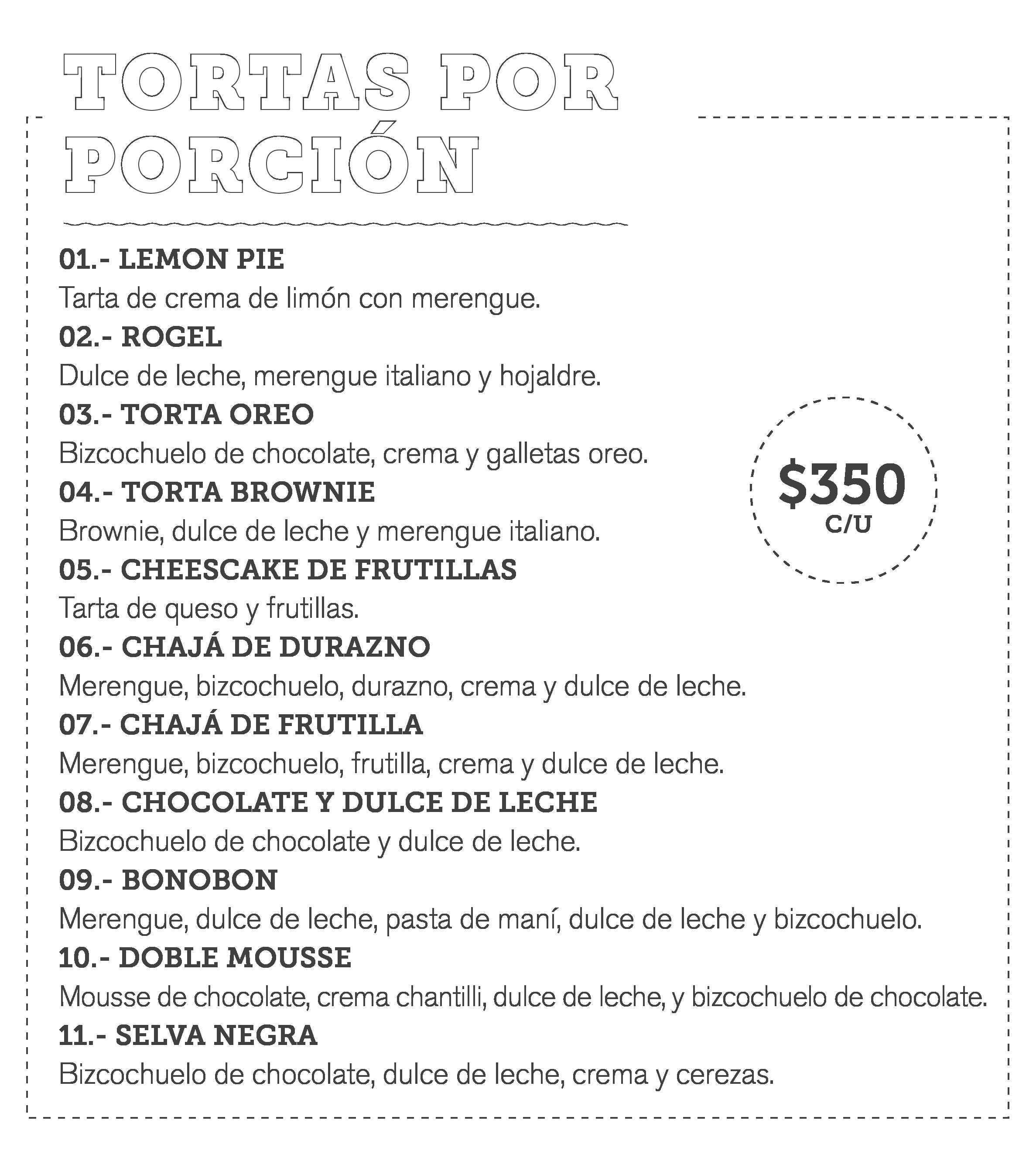 Menú Pastelería 2 | Tortas: Bonobon, Chajá, Selva Negra, Torta Oreo
